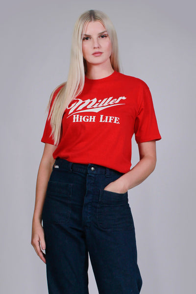1980s Soft Vintage T Shirt Red White Novelty Beer 50/50 Cotton Poly Vintage Women's Size Small - Medium Men's Size XS - Small
