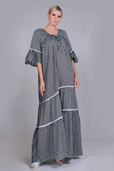 "Vintage Gingham Peasant Maxi Dress Black and White Caftan Loungewear Women's Plus Size XXL - 1X - 47"" bust - 48"" waist - 50"" hips"