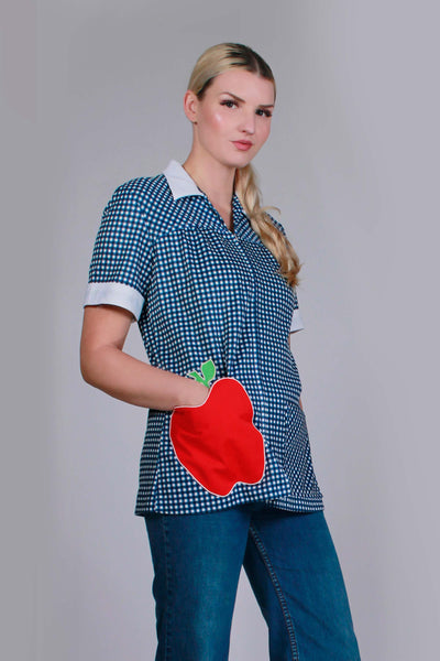 "60s 70s APPLE Patch Pocket Blue and White Gingham Zip Front Poly Knit Top by JC Penney USA Women's Size Medium - Large - 42"" bust - 37""waist"