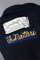 "1964 Navy Blue Wool Letterman Cardigan Sweater FRED NATARI Made in Seattle USA Vintage Size Medium - 40"" bust - 38"" waist"