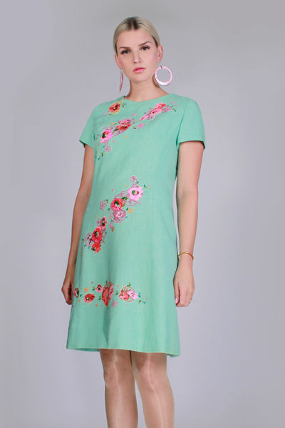 "60s Vintage I.MAGNIN Embroidered Linen Dress Pale Minty Green Pink Cap Sleeve Dress Women's Size Medium - 38"" bust - 33"" waist - 40"" hips"