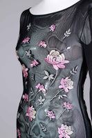 "90s VIVIENNE TAM Black Mesh Pink Embroidered Long Sleeve Bodycon Maxi Dress Womens Size Small - stretches to 36""- 26""- 36"""