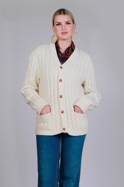 "70s Ivory Acrylic Cable Knit Fisherman Cardigan Sweater Women's Size Medium - 40"" bust - 34"" waist - 27"" long"