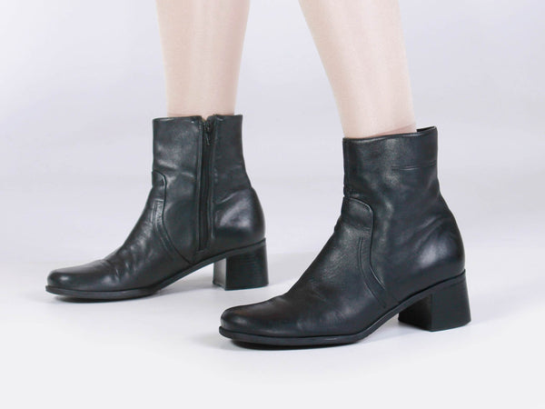 90s Black Leather Block Heel Ankle Boots Made in Brazil Women's USA Size 10