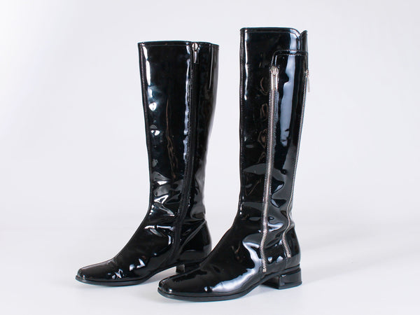 Y2K Shiny Patent Leather Vinyl Zipper Gogo Style Tall Boots Women's USA Size 6