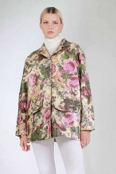 "Vintage 80s Cabbage Rose Floral Rain Jacket Nordic House Shiny Coat Made in the USA Women's Size Large - 48"" Bust - 48"" waist - 30.5"" long"