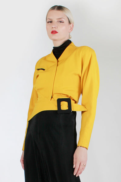"Vintage 80s LILLIE RUBIN Yellow Black Wool Asymmetrical Cropped Zipper Jacket Made in the USA Women's Size xs - small - 36: Bust - 26"" waist"