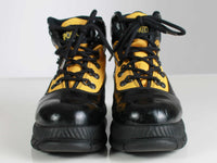 Vtg 80s 90s PLATFORM Yellow and Black Faux Leather Lace Up Hiking Boots Women's USA Size 8