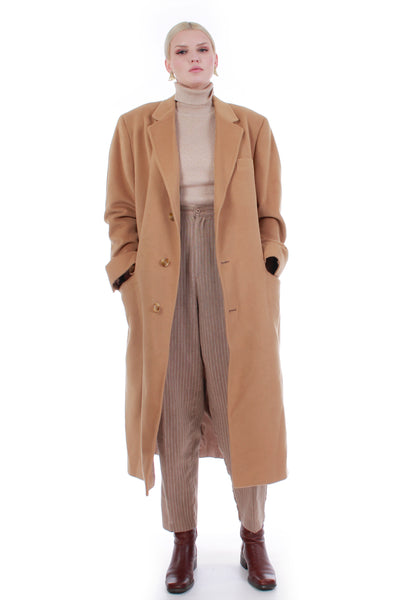 80s Mongolian Cashmere Tan Long Oversize Maxi Coat Unisex Mens L Women XL