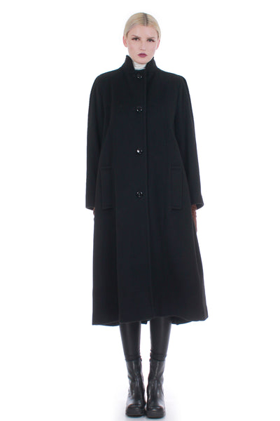 "Vintage Pleated Black Wool A-Line Coat Made in the USA Size M-L-44"" bust"