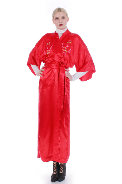Vintage Red Silk Dragon Embroidered Kimono Duster Robe One Size Fits Most