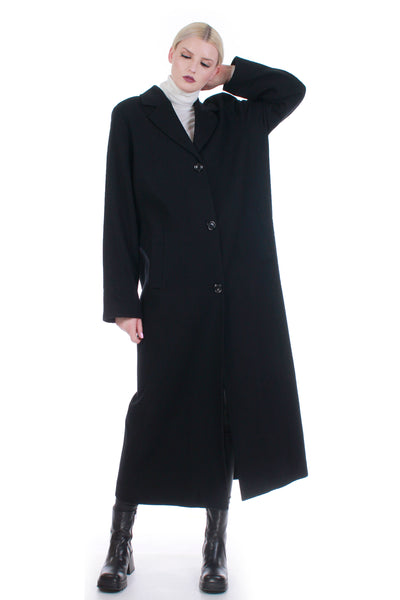 Lightweight Black Merino Wool Long Oversized Minimal Maxi Duster Coat Made in the USA Size L