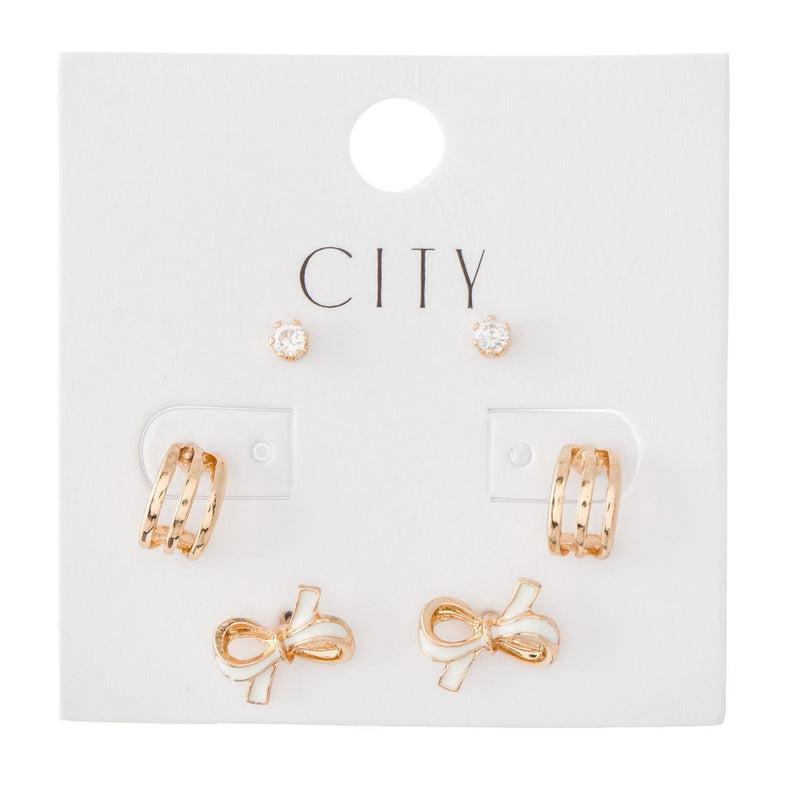 THE CITY WORKS - RHINESTONES, BOWS & HUGGIE HOOPS