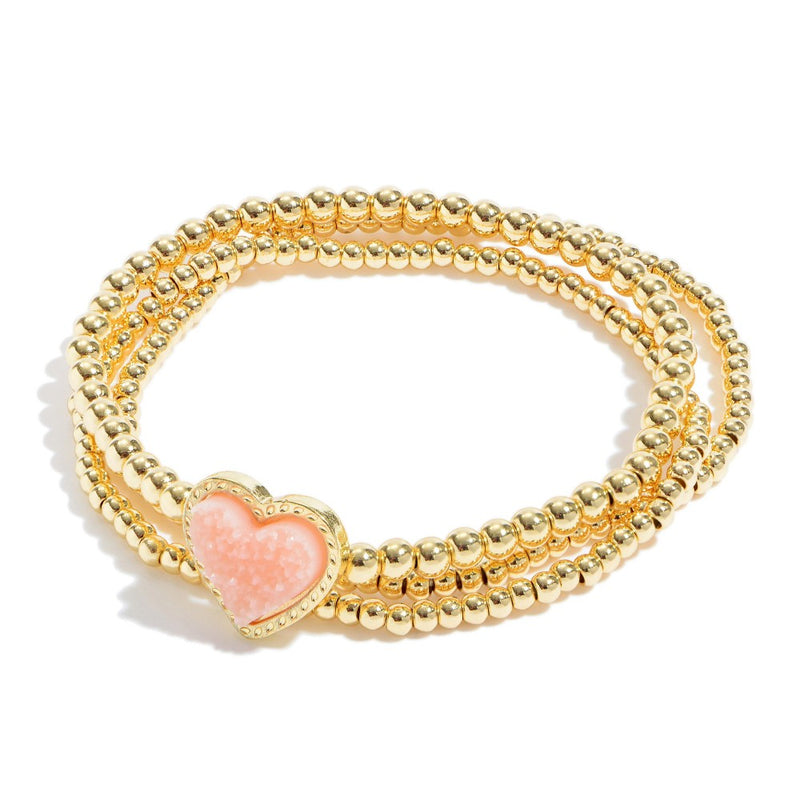 THE DRUZY HEART STRETCH BRACELET - PINK