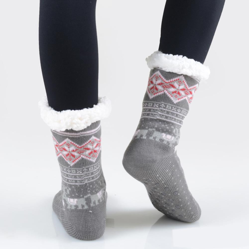 THE COZY TOES - DK. GREY MULTI