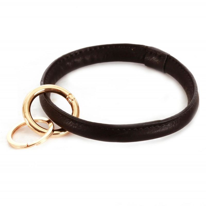 THE FAUX LEATHER KEYRING - BLACK