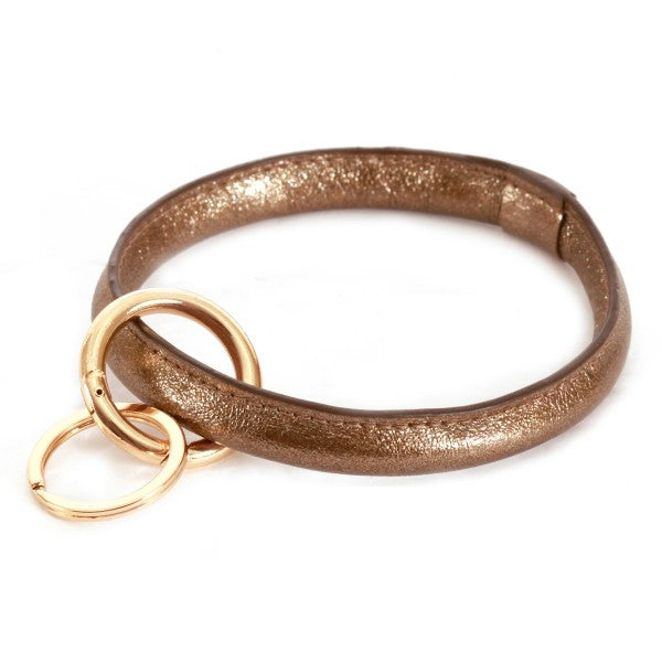 THE FAUX LEATHER KEYRING - BRONZE