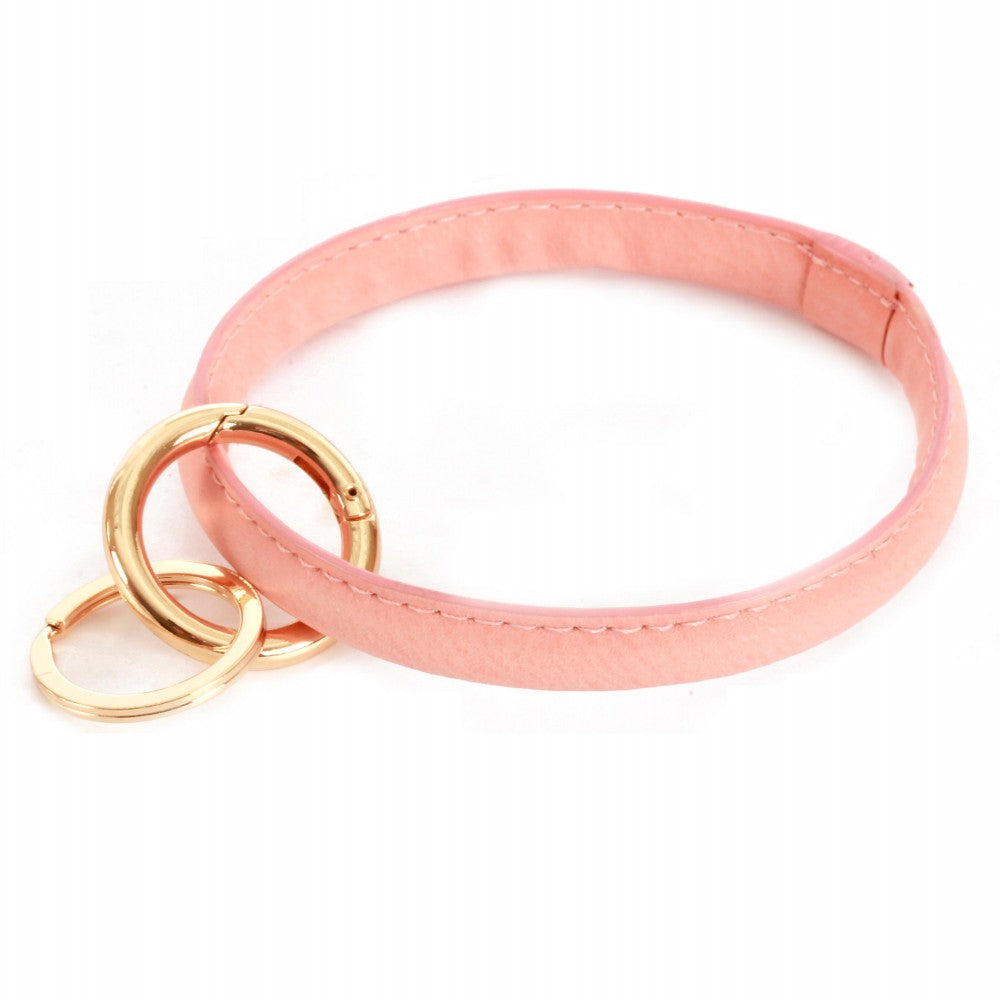 THE FAUX LEATHER KEYRING - LIGHT PINK