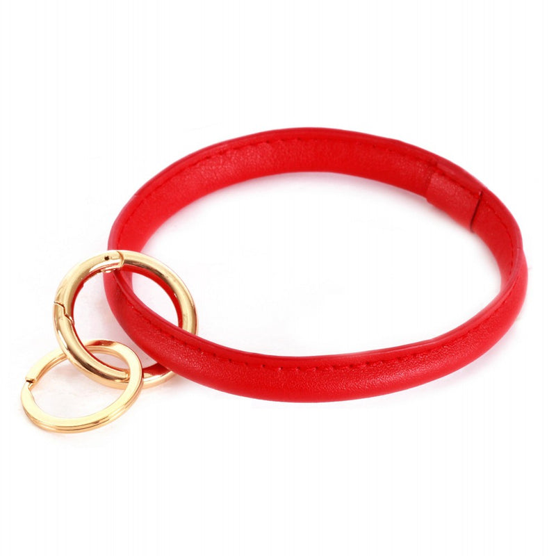 THE FAUX LEATHER KEYRING - RED
