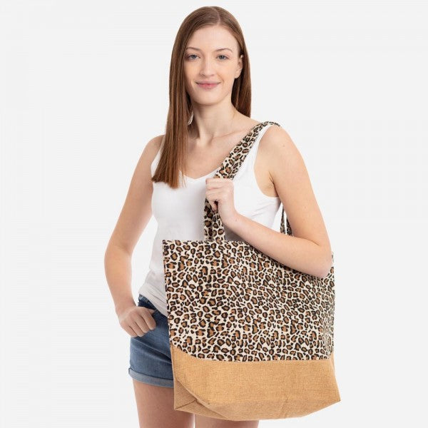 THE LEOPARD TOTE - BROWN