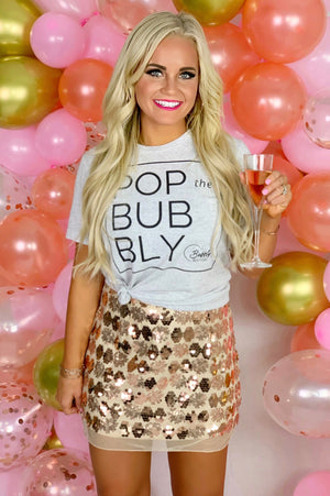 THE POP THE BUBBLY TEE - WHITE HEATHER