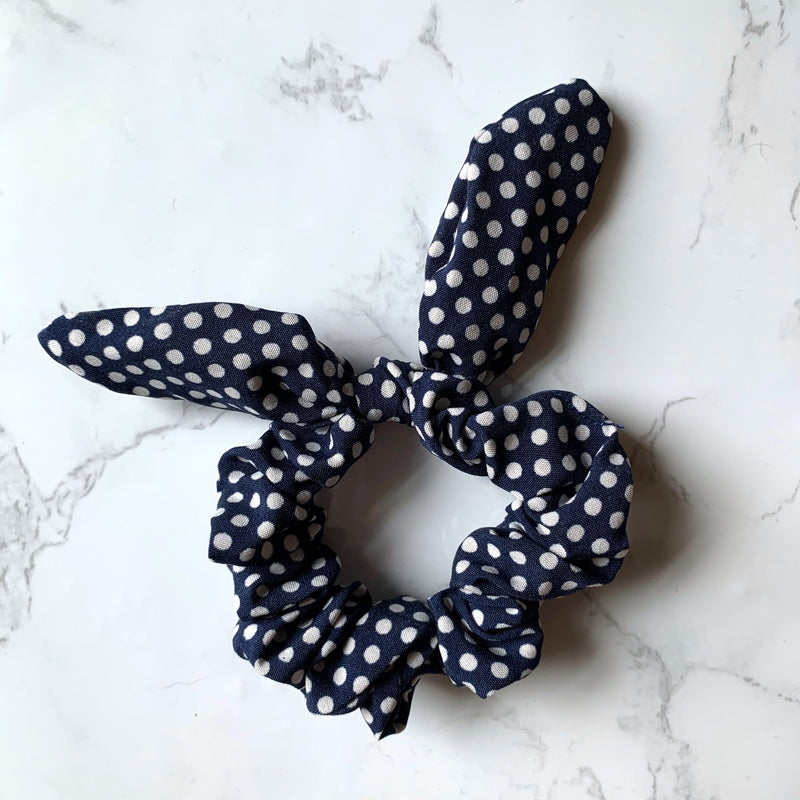 THE BUNNY SCRUNCHIE - NAVY POLKA DOT