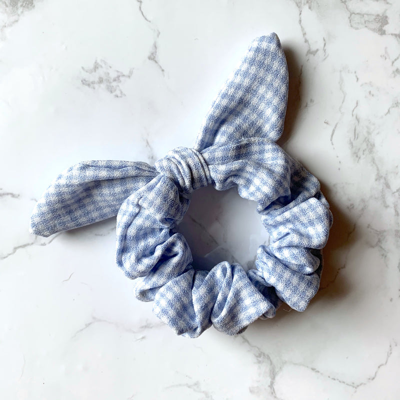 THE BUNNY SCRUNCHIE - BABY BLUE GINGHAM
