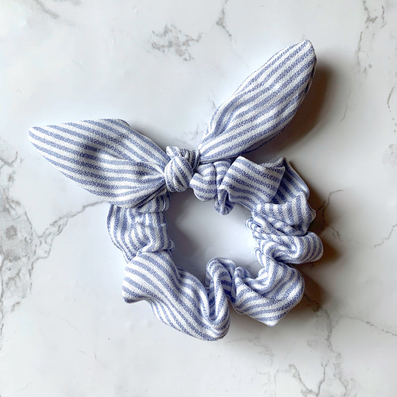 THE BUNNY SCRUNCHIE - LIGHT BLUE STRIPE