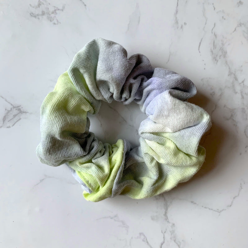 THE TIE DYE SCRUNCHIE - BLUE AND YELLOW