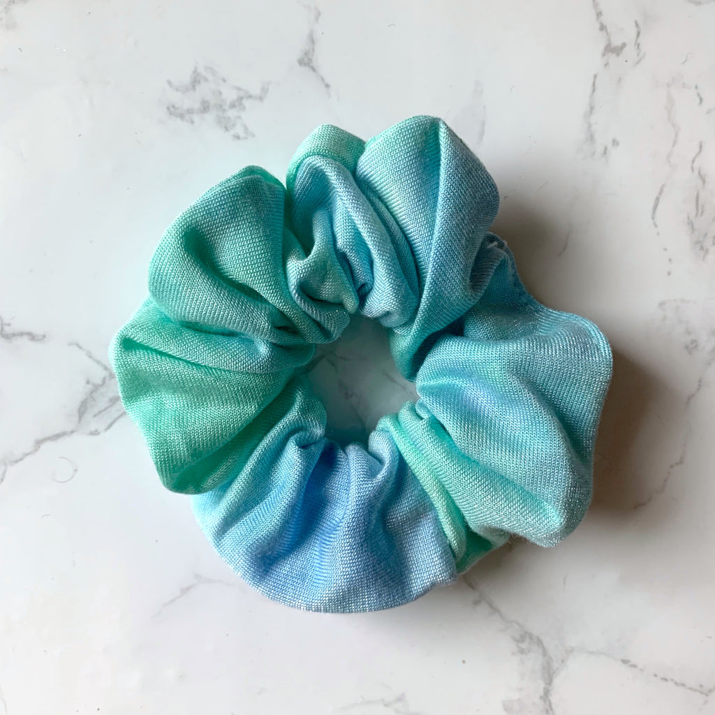 THE TIE DYE SCRUNCHIE - GREEN AND BLUE