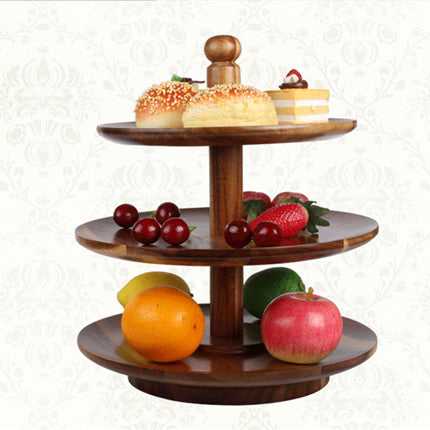 European Three Tier Wooden Serving Tray