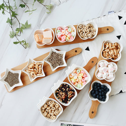 Bamboo and Ceramic Snack Tray (4 piece)