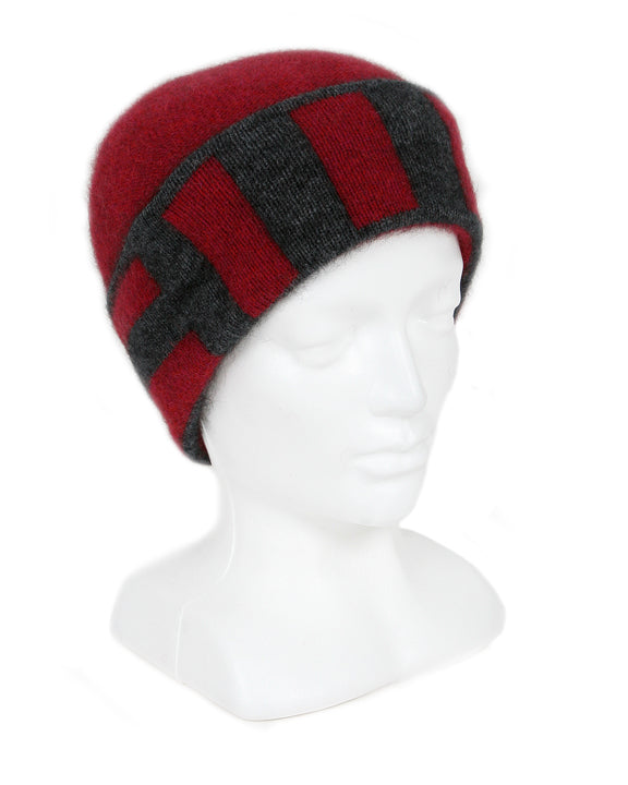 Merino Possum Stripe Beanie raspberry