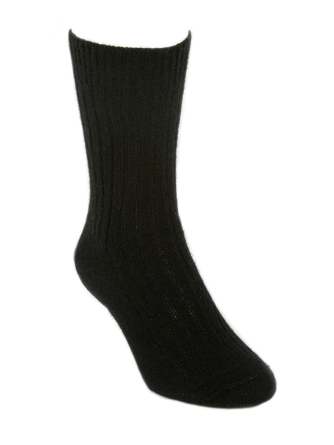 Merino Possum Casual Rib Mens Socks black
