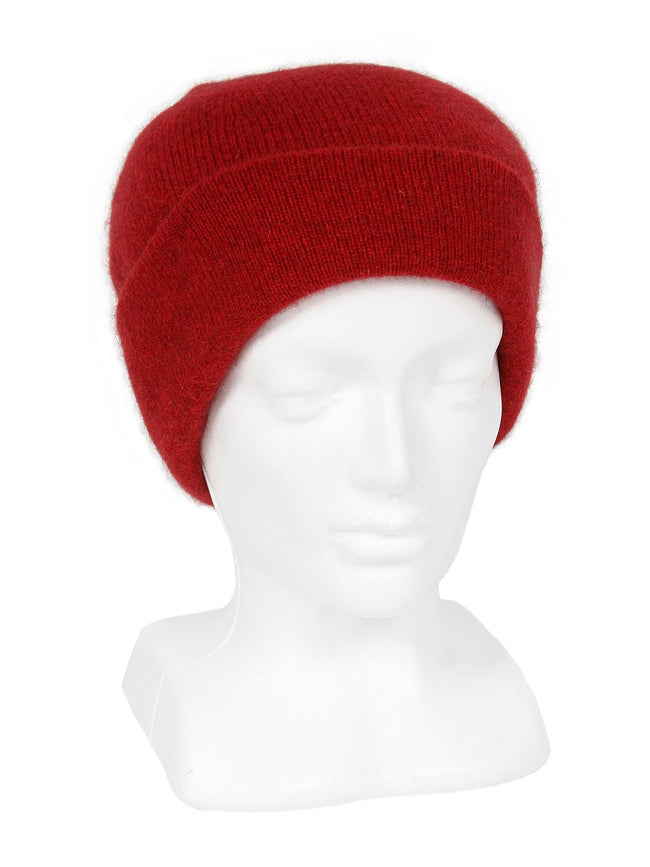 Merino Possum Plain Beanie red