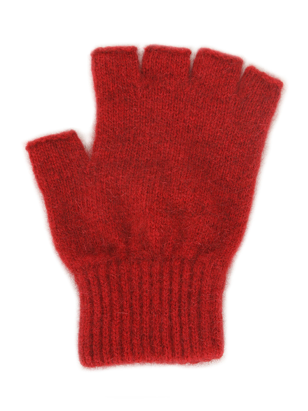 Merino Possum Open Finger Gloves red