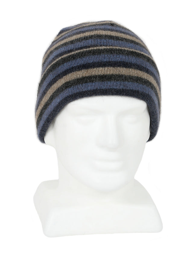 Merino Possum Multi Striped Beanie denim