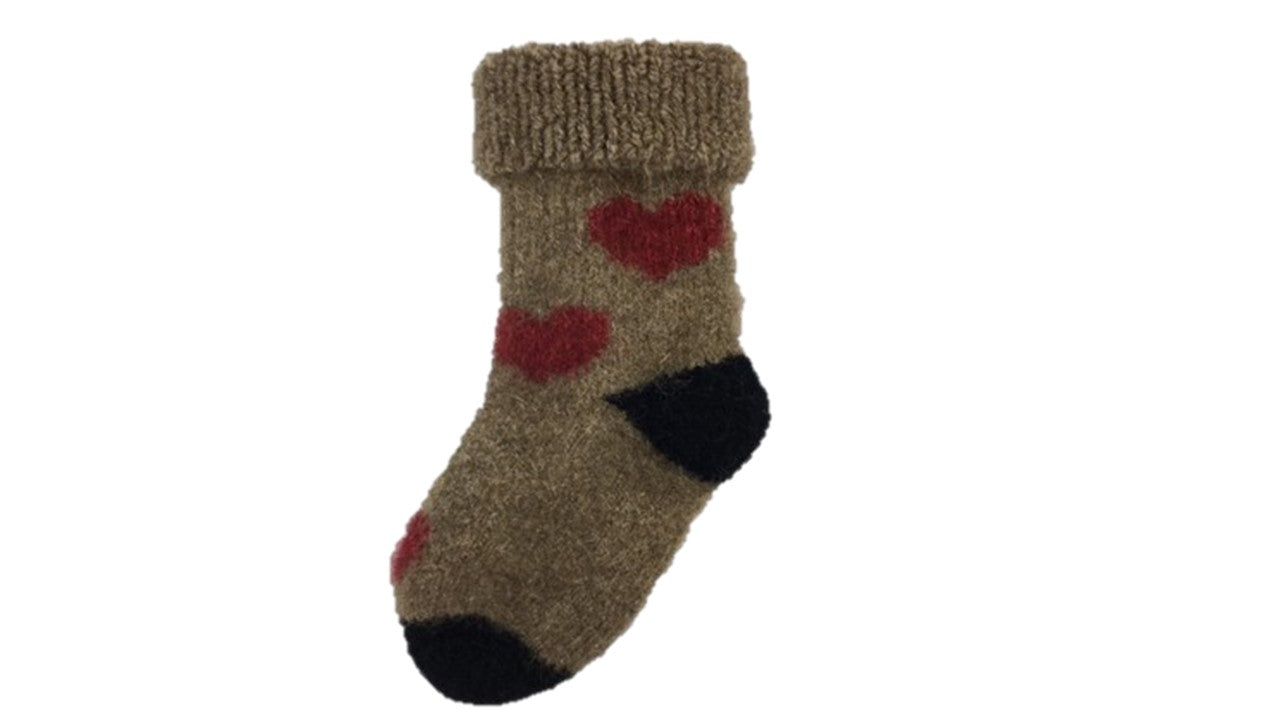 Possum & Merino Heart Wheat kids socks