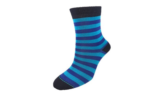Merino Kids 'Big Stripe' Navy Blue socks