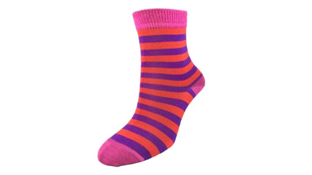 Merino Kids 'Big Stripe' Pink socks
