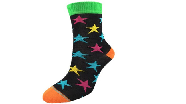 Merino Kids Star Socks Black