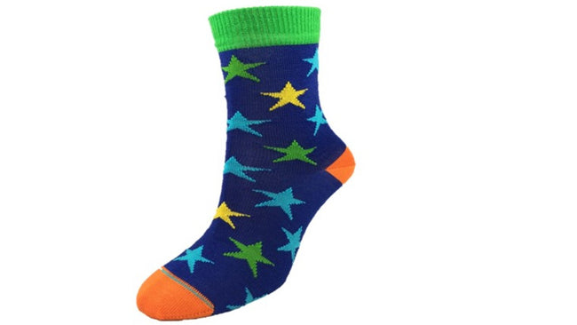 Merino Kids Star Socks Blue