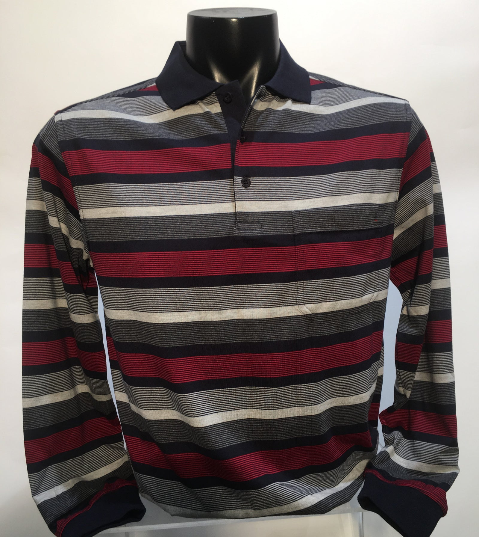 Breakaway long-sleeve striped polo shirt: Ink