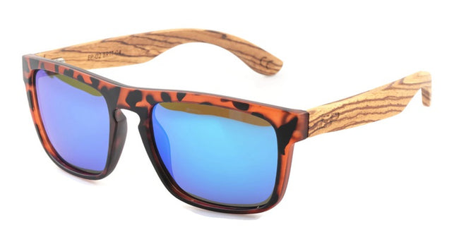 Brown Tortoise: Blue Mirror sunglasses