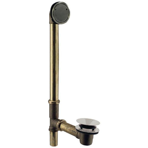 WESTBRASS 7931817CHM Close Drain Bath Waste and Overflow - Deep Soak Closing Overflow With ADA Approved Tip Toe Drain