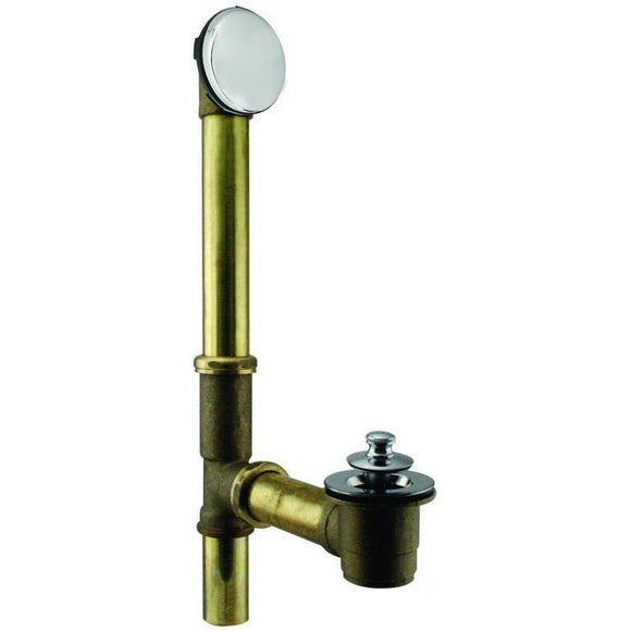 WESTBRASS D321H Twist & Close Bath Waste - Hidden Overflow -14 in. Make-Up, 17 Ga.