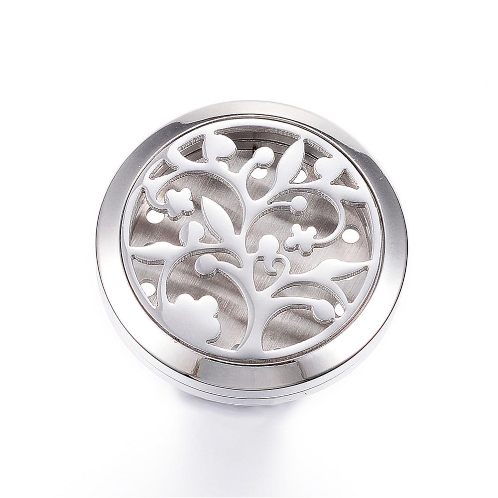 Flat Round with Tree Essential Oil Car Diffuser Locket