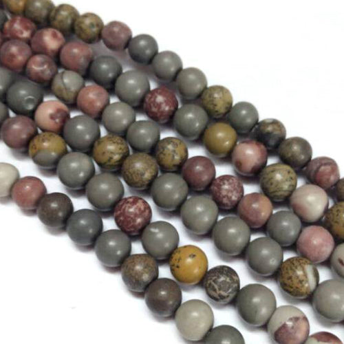 Natural Fancy Jasper Beads Strands, Round, Mixed Color, 10mm, Hole: 1mm; about 39pcs/strand, 15.3""