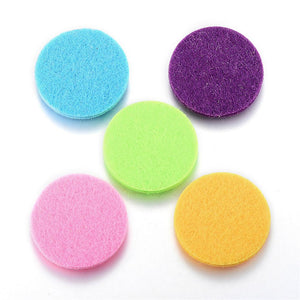 Fiber Pads, Essential Oils Diffuser Locket Pads, Flat Round, Mixed Color, 30x3mm
