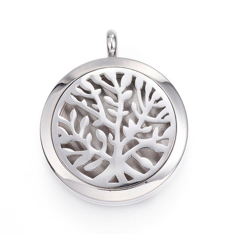 Tree of Life -  Simple Design Stainless Steel Diffuser Locket Pendants